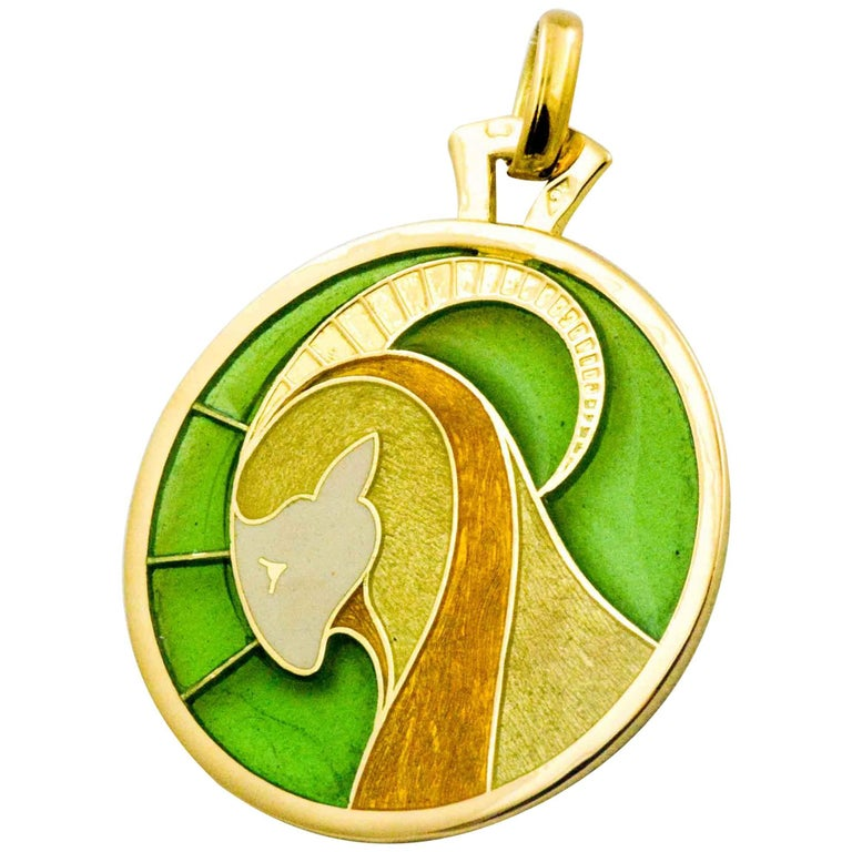 Capricorn Plique a Jour pendant 18 Karat Yellow Gold