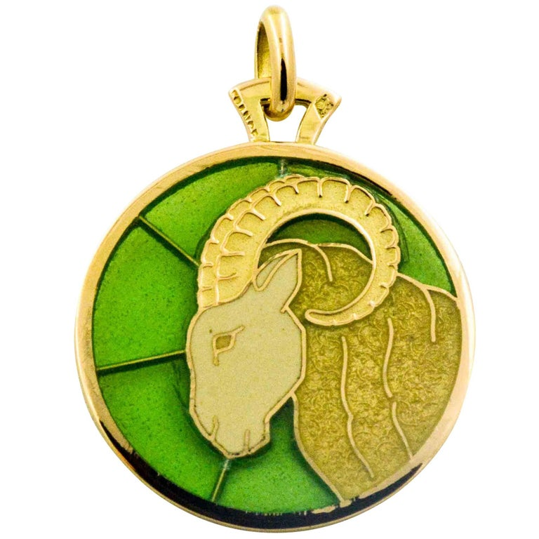 Aries 18 Karat Yellow Gold Plique a Jour Pendant