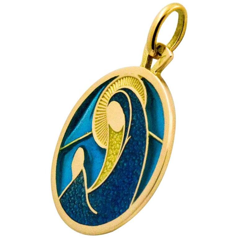 Plique a Jour Virgo 18 Karat Yellow Gold Pendant