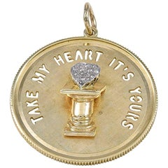 Gold and Diamond Take My Heart Charm