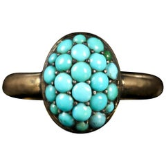 Antique Victorian Pavé Set Turquoise Cluster Ring, circa 1890