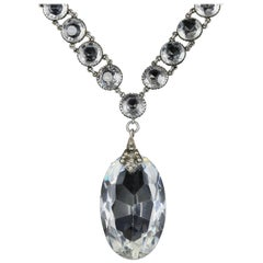 French Rock Crystal Silver Pendant Necklace Large, circa 1910