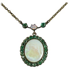 Antique Victorian Opal Emerald 9 Carat Gold Necklace, circa 1900