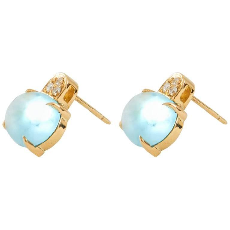 White Diamond and Cabochon Cut Topaz Stud Earrings