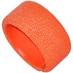 Orange Galuchat Cuff Bracelet