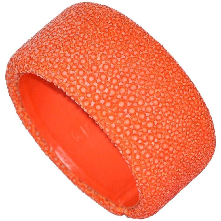 Orange Galuchat Cuff Bracelet