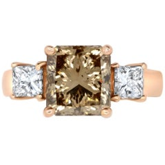 3.14 Natural Princess Cut Cognac Diamond and 0.78 White Diamond Ring