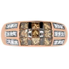 0.98 Carat Princess Cut Natural Cognac Diamond and 0.14 White Diamond Ring