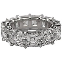 Asscher Cut Eternity Platinum Band 10.78 Carat