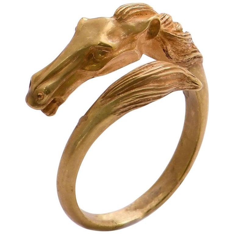 18 Karat Gold Horse Head Crossover Ring