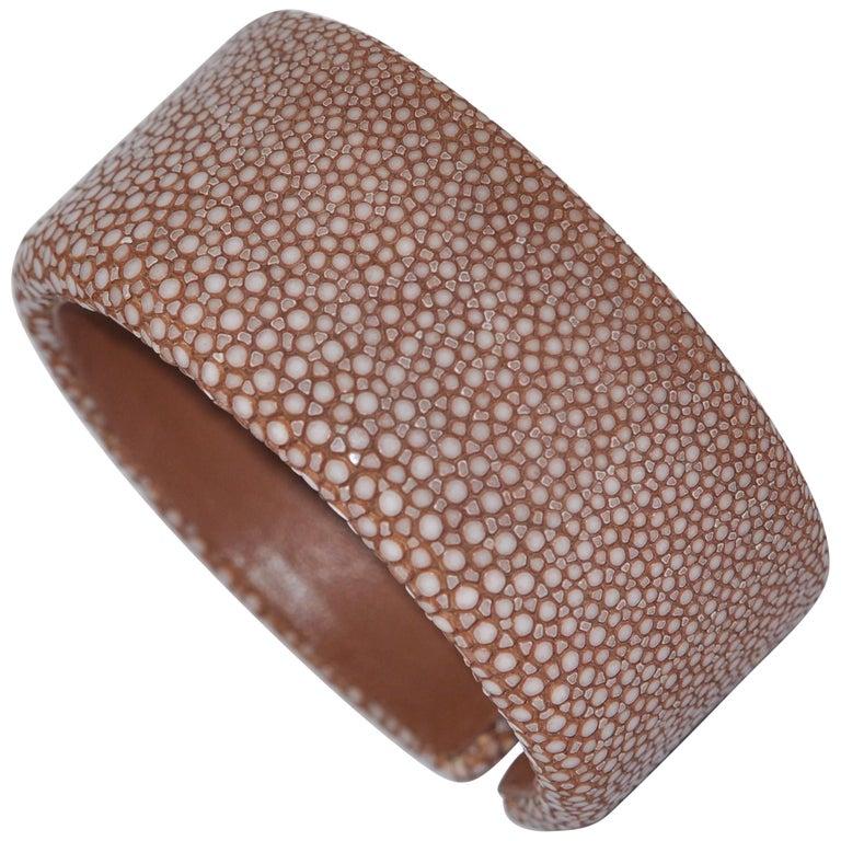 Brown Galuchat Cuff Bracelet