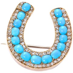 Victorian Natural Turquoise and Diamond Yellow Gold Horse Shoe Brooch