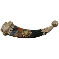 Antique Victorian Scottish Agate Citrine Horn 9 Carat Gold Brooch Pin