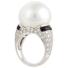 Ella Gafter South Sea Pearl Onyx Diamond Ring