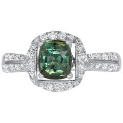 1.23 Carat Cushion Natural Color Changing Alexandrite & 0.45 Carat Diamond Ring