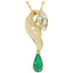 18 Karat Gold Diamond and Emerald Drop Necklace