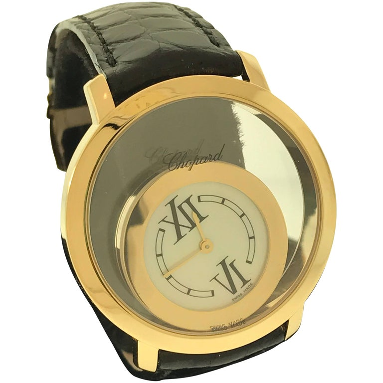 Chopard Happy Spirit Yellow Gold Mother-of-Pearl Dial Black Leather Band Watch