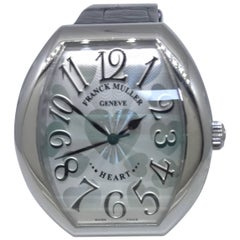 Franck Muller Stainless Steel Silver Heart Motif Dial Leather Band Ladies Watch