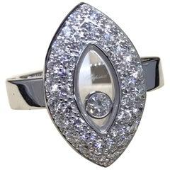 Chopard Happy Diamonds 18 Karat White Gold Tear Drop Shape Ring 82/5723