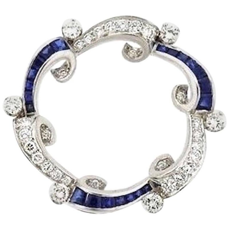 Stunning Art Deco G/VS Diamond Sapphire Platinum Circle Pendant
