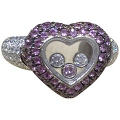 Chopard Happy Diamonds White Gold Diamonds and Pink Sapphires Heart Shape Ring
