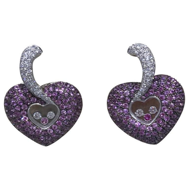 Chopard Happy Diamonds Gold Diamonds and Pink Sapphire Heart Shape Earrings