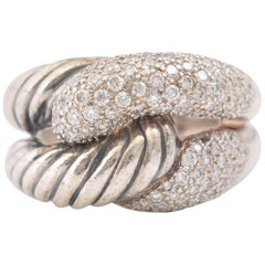 1990s David Yurman Labyrinth Single Loop Ring with Diamonds
