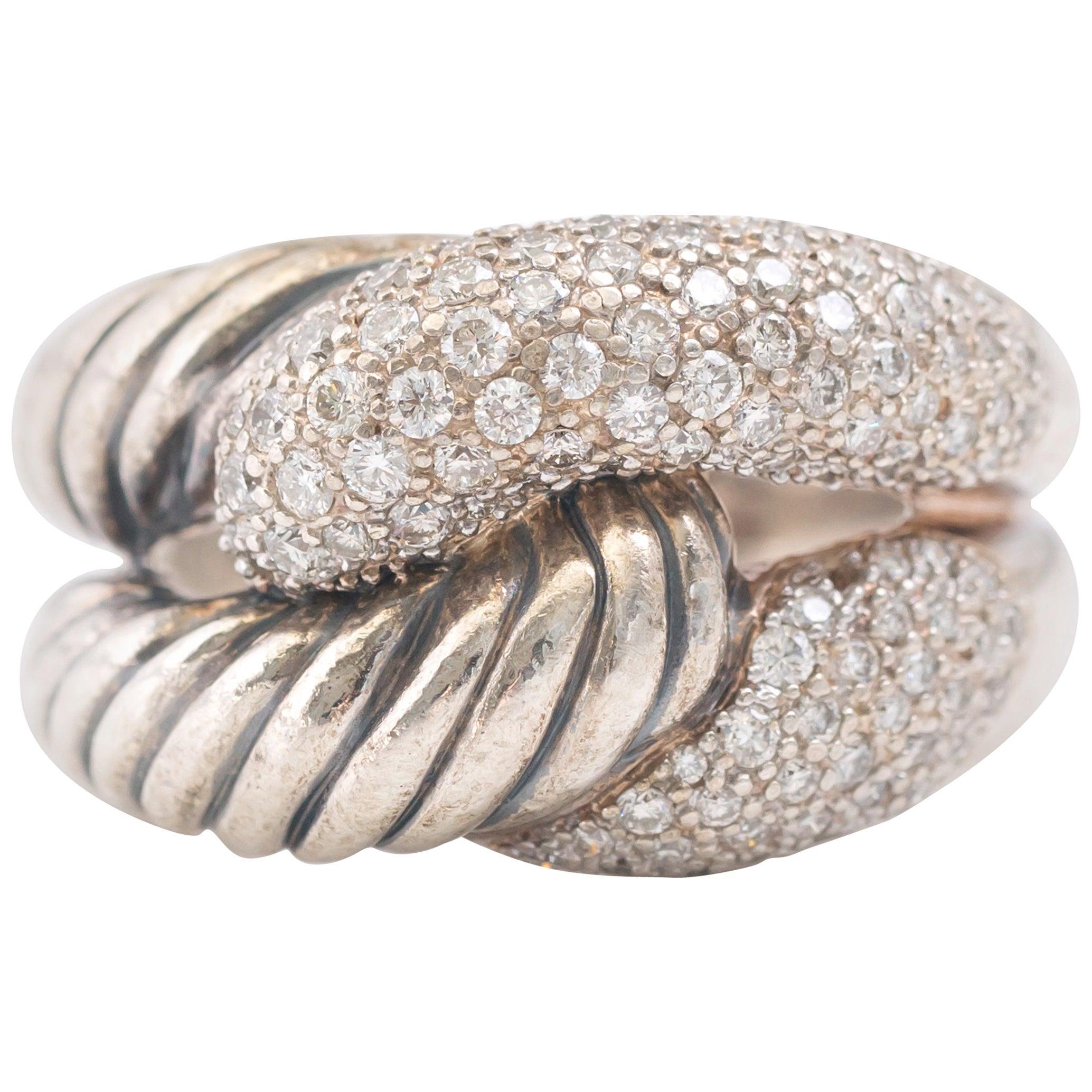 1990s David Yurman Labyrinth Single Loop Ring with Diamonds
