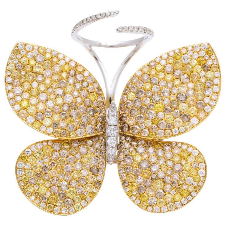 Yellow Gold and Diamond Articulating Butterfly Cocktail Ring