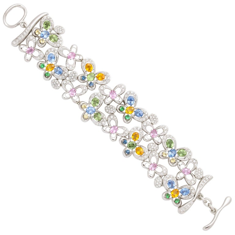 White Gold and Diamond Multi-Color Sapphire Butterfly Strap Bracelet
