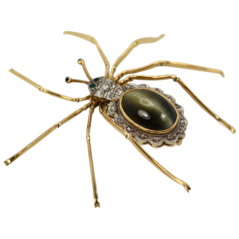 Retro Cat's Eye Chrysoberyl Spider Brooch Scalloped Edge Diamond Accents 18K