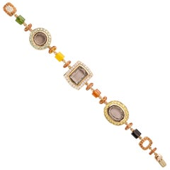 Rose Gold Artistic Fancy Link Gemstone and Diamond Bracelet