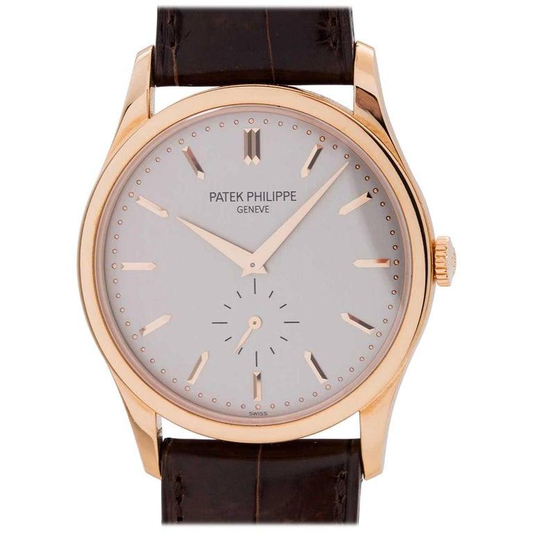 Patek Philippe Rose Gold Calatrava Manual Wristwatch Ref 5196R, circa 2000s