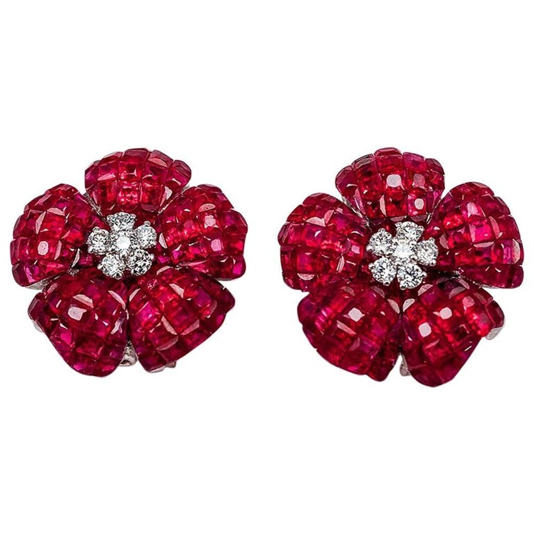 Diamond Emerald Ruby 18 Karat Gold invisible Clip on Earrings For Sale