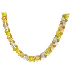 Tres Belle Three-Colors Gold Necklace 18 Karat Yellow and White and Pink Gold