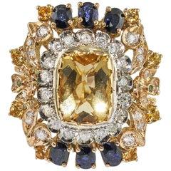 Diamonds Sapphires Topaz Tsavorite  Rose Gold Crown Ring