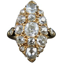 Antique Gold Navette Ring with Old Cut Diamonds, 19th Century