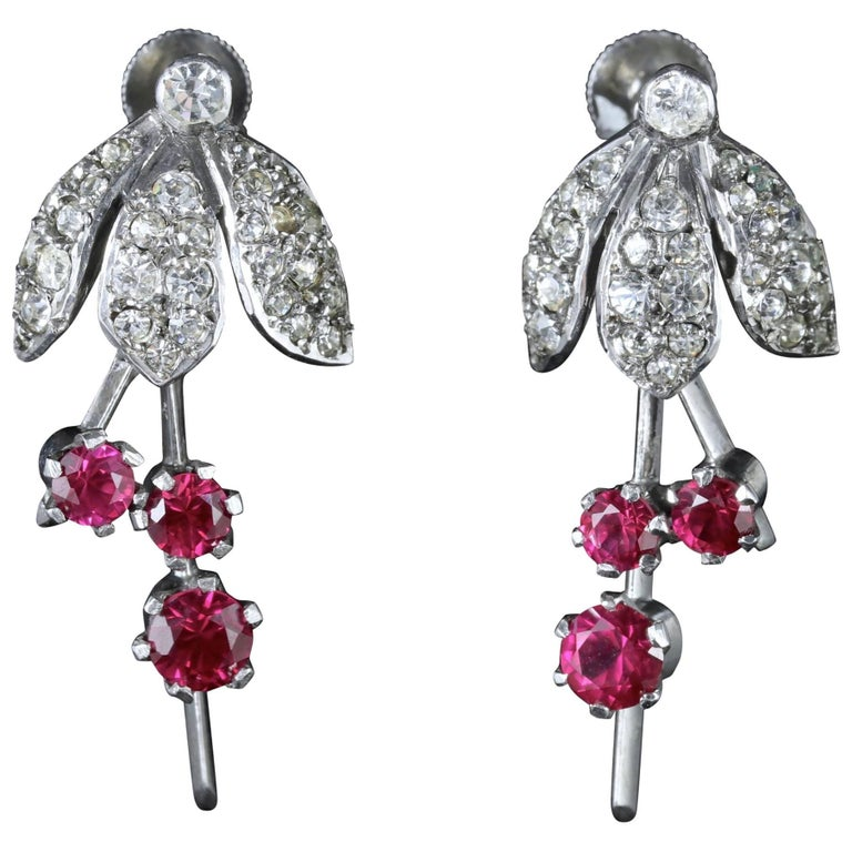 Art Deco Sterling Silver Ruby Paste Fuchsia Drop Earrings, circa 1920