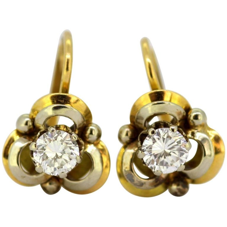 Vintage 18 Karat Yellow Gold Ladies Clip on Earrings with Diamonds