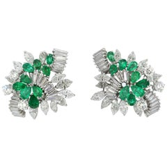 George Hakim, Ladies 18k White Gold Clip on Earrings with Diamonds and Emerald