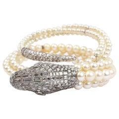 Diamonds and Pearls Platinum Snake Bangle, 1930
