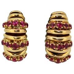 18 Karat Gold Ladies Clip-On Earrings with Rubies by Rossello S.A, 1970s