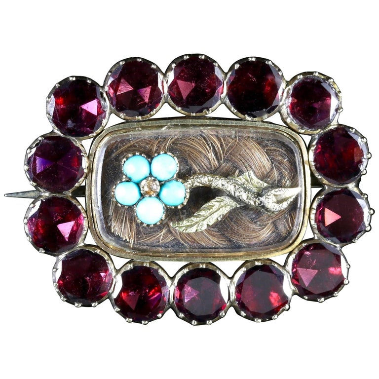 Antique Georgian Flat Cut Garnet Turquoise Mourning Gold Brooch, circa 1790