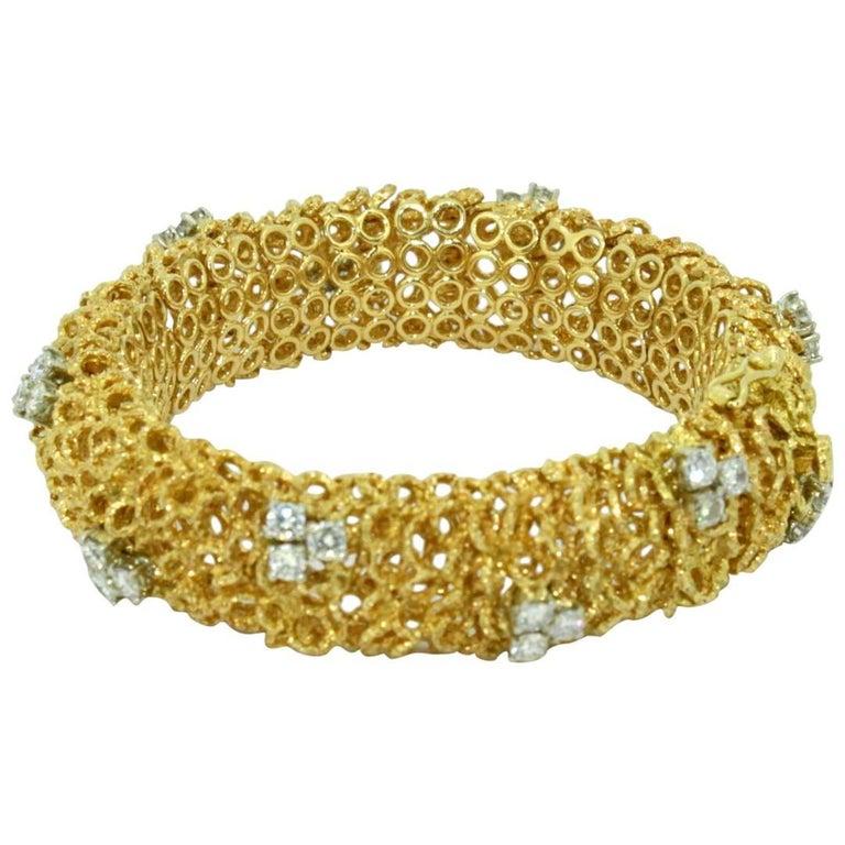 18 Karat Yellow Gold Bracelet with Diamonds, Made in Italy