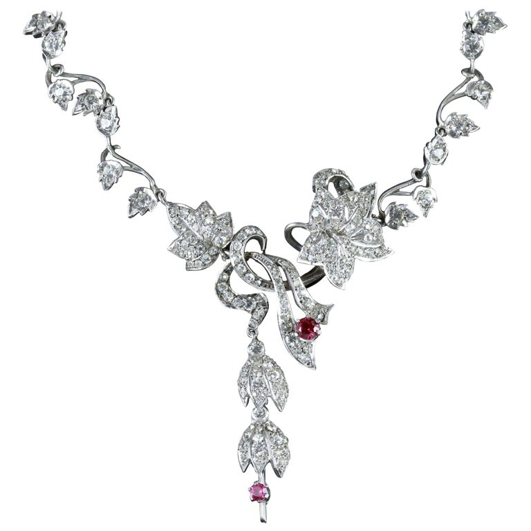 Art Deco Silver Floral Ruby Paste Lavaliere Drop Necklace, circa 1920