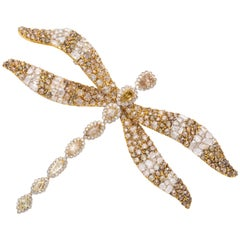 18 Karat Yellow Gold Multi-Color Dragonfly Brooch