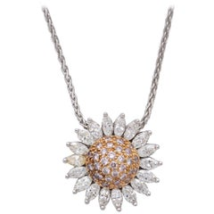 Synthesis 18 Karat Rose and White Gold Pink Diamond Sunflower Pendant