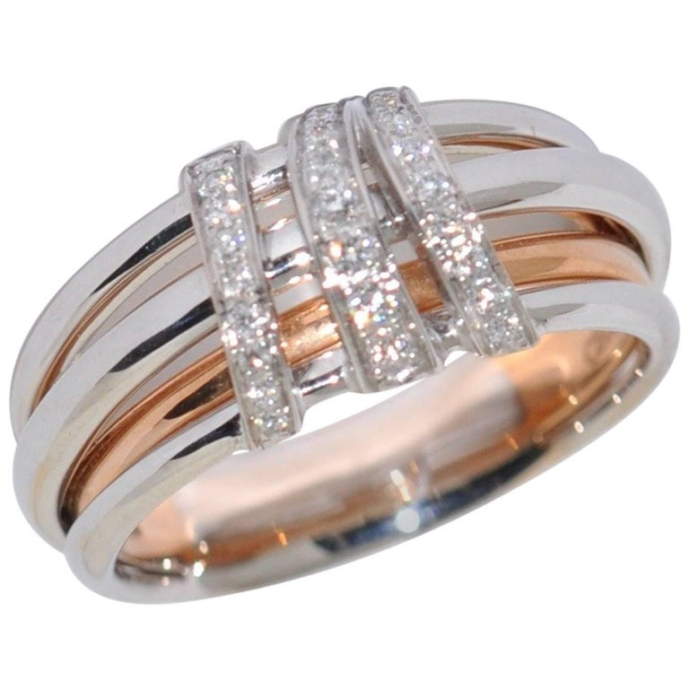 White Diamonds Rose Gold and White Gold Fashion Ring