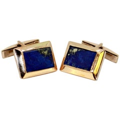 14 Karat Yellow Gold Cufflinks with Lapis Lazuli, 1980s