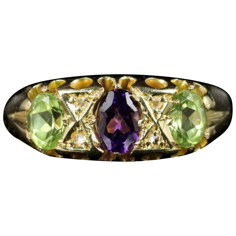 Antique Victorian Suffragette Ring Amethyst Peridot Diamond 18 Carat Gold
